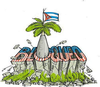 Banner alegórico al bloqueo contra Cuba